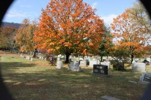 Tomb Stones and Fall Leaves