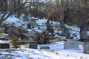snow and grave markers